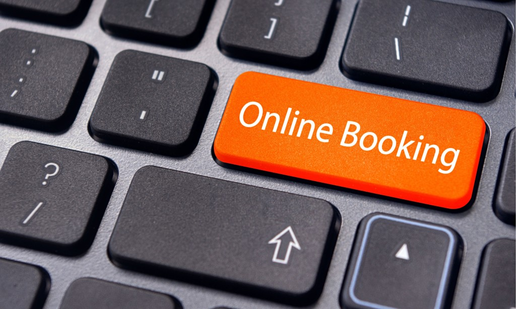 Online booking key on computer